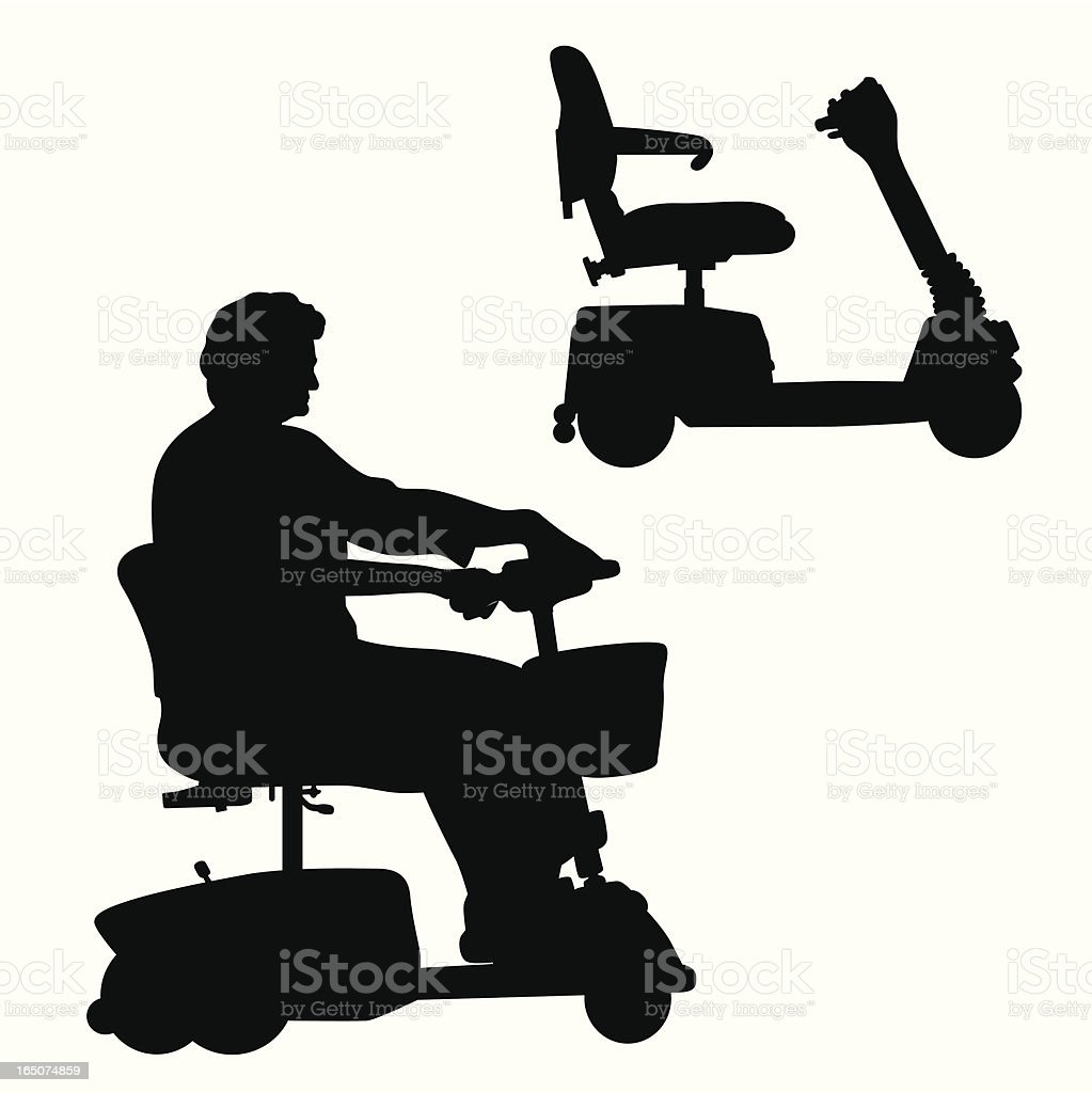 Scooter Woman Vector Silhouette royalty-free stock vector art