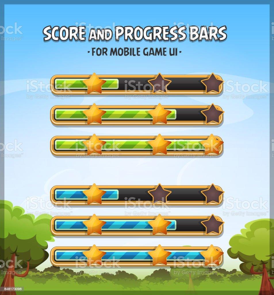 Score And Progress Bars For Game Ui vector art illustration