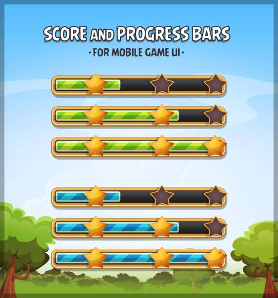 ilustrações de stock, clip art, desenhos animados e ícones de score and progress bars for game ui - consumo exibicionista