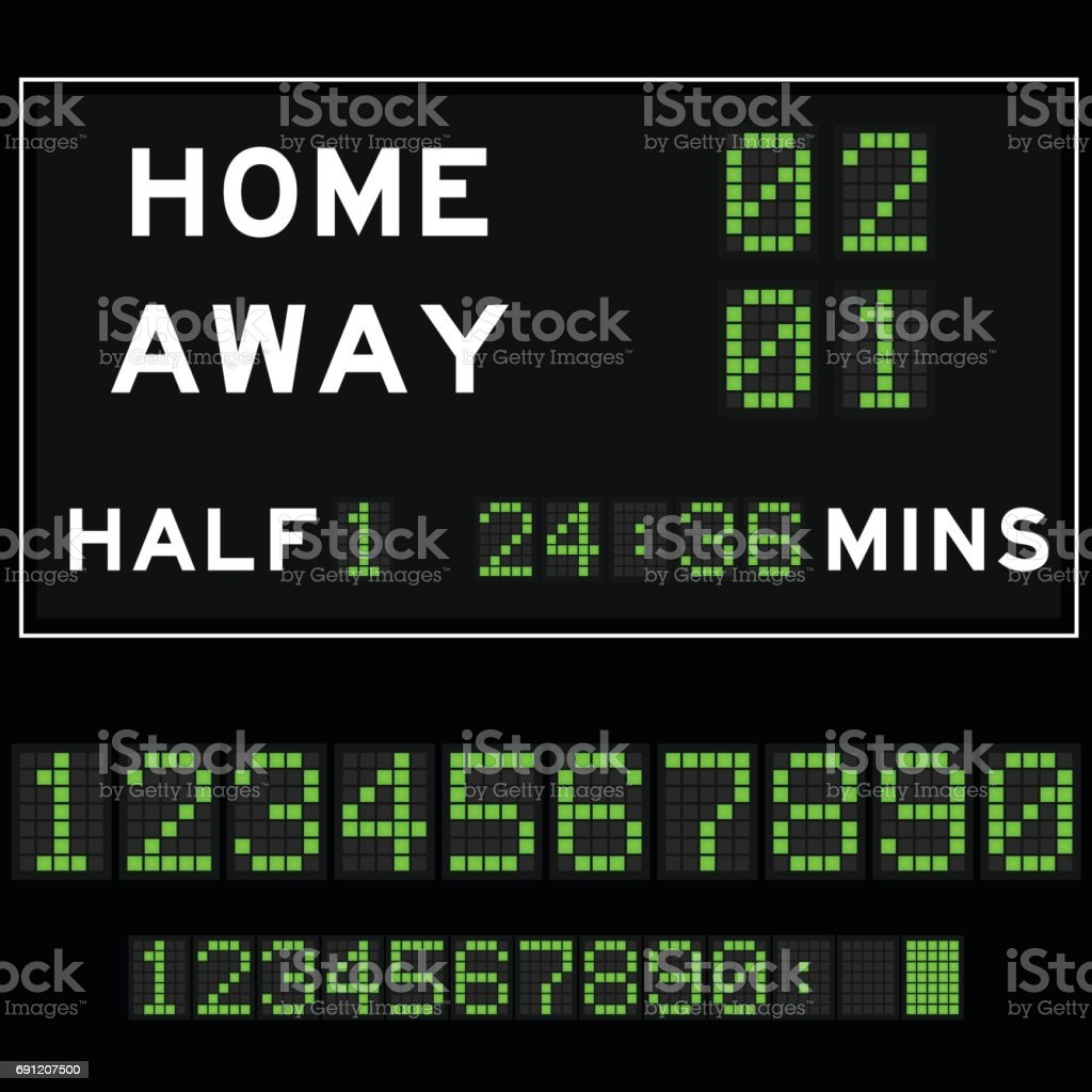 Score board with green square digital led font background vector art illustration