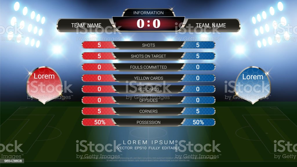 Scoreboard and Lower thirds template, Sport soccer and football match team A vs team B, Strategy broadcast graphic for presentation score or game results display (EPS10 vector fully editable) scoreboard and lower thirds template sport soccer and football match team a vs team b strategy broadcast graphic for presentation score or game results display - stockowe grafiki wektorowe i więcej obrazów abstrakcja royalty-free