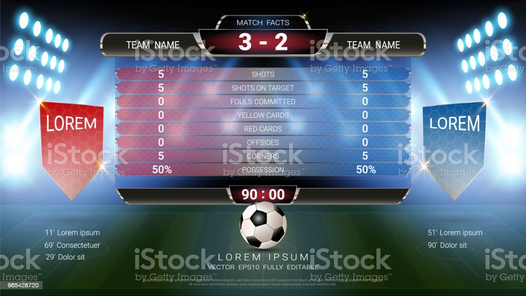 Scoreboard and Lower thirds template, Sport soccer and football match team A vs team B, Strategy broadcast graphic for presentation score or game results display (EPS10 vector fully editable) royalty-free scoreboard and lower thirds template sport soccer and football match team a vs team b strategy broadcast graphic for presentation score or game results display stock vector art & more images of abstract