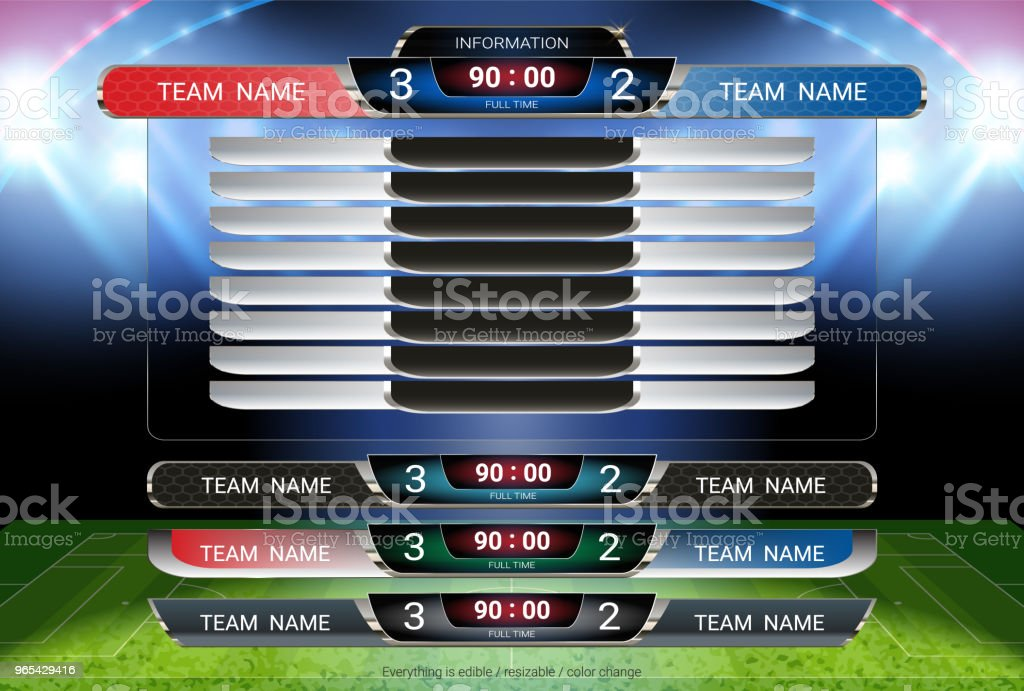 Scoreboard and Lower thirds template, Sport soccer and football match team A vs team B, Strategy broadcast graphic for presentation score or game results display (EPS10 vector fully editable) royalty-free scoreboard and lower thirds template sport soccer and football match team a vs team b strategy broadcast graphic for presentation score or game results display stock vector art & more images of 2018