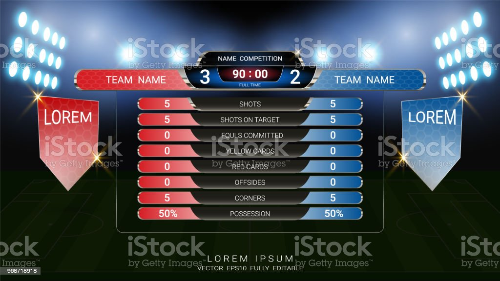 Scoreboard And Lower Thirds Template Sport Soccer Football Match Team A Vs B