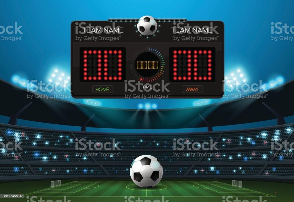 Anzeiger und Strahler mit Stadion-Hintergrund – Vektorgrafik