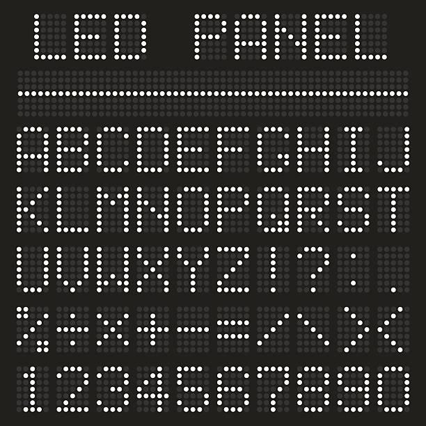ilustrações de stock, clip art, desenhos animados e ícones de tipo de letra do alfabeto painel - led painel