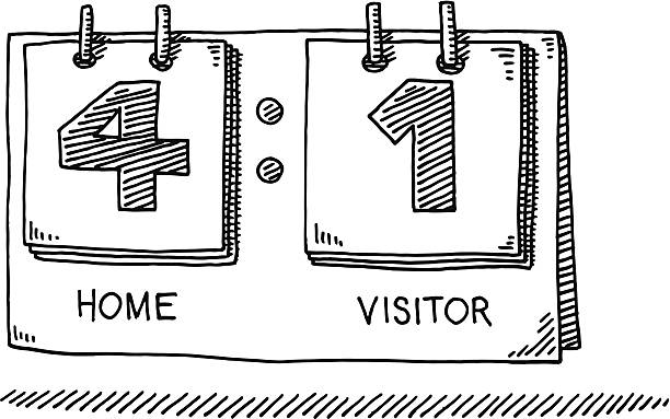 Scoreboard Home Visitor Drawing Hand-drawn vector drawing of a Scoreboard Home Visitor, showing a result of 4 to 1. Black-and-White sketch on a transparent background (.eps-file). Included files are EPS (v10) and Hi-Res JPG. game stock illustrations