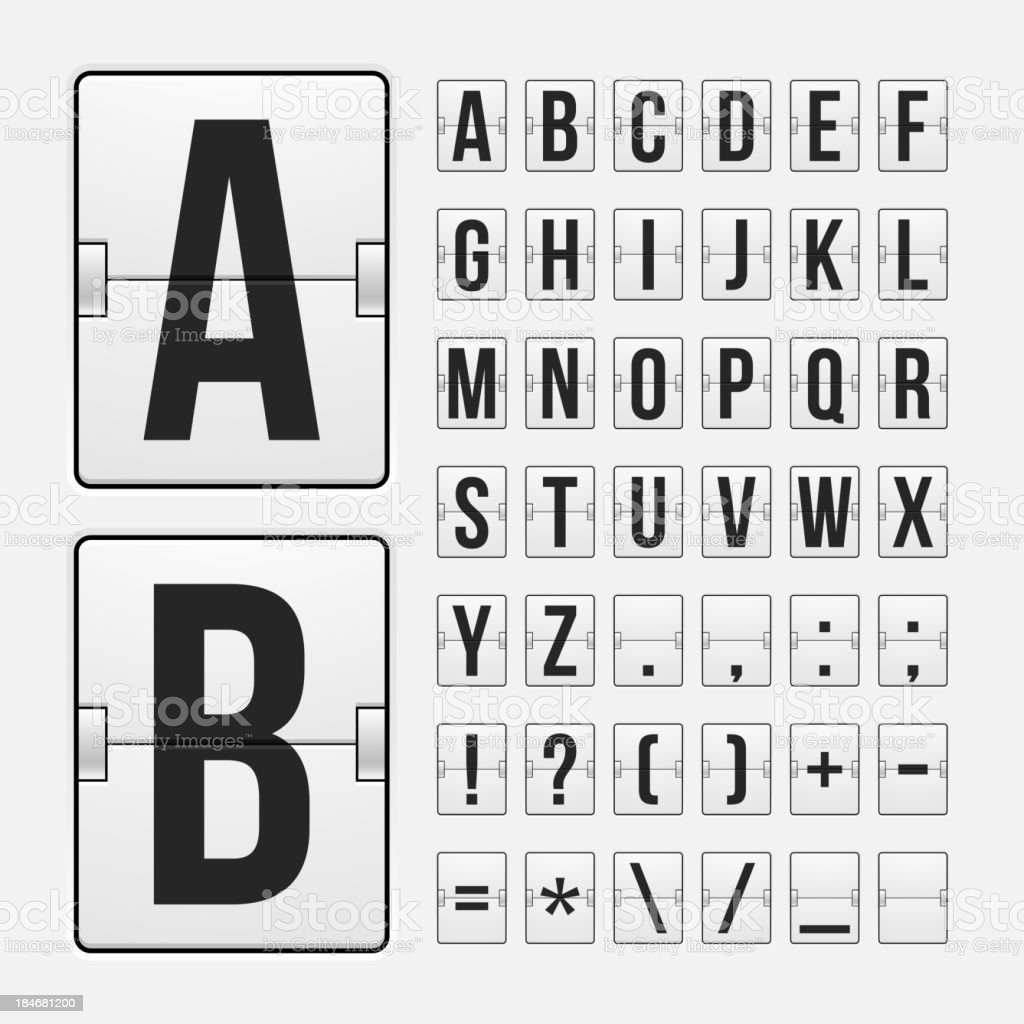 Scoreboard letters and symbols alphabet royalty-free stock vector art