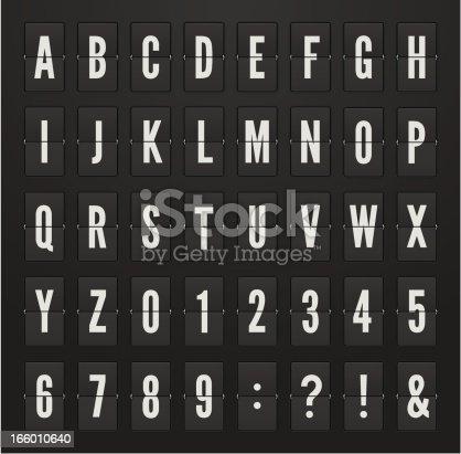 Vector alphabet on the mechanical scoreboard.