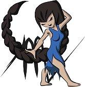 Scorpio Girl Cartoon Vector