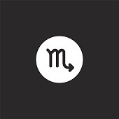 scorpio icon. Filled scorpio icon for website design and mobile, app development. scorpio icon from filled esoteric collection isolated on black background.