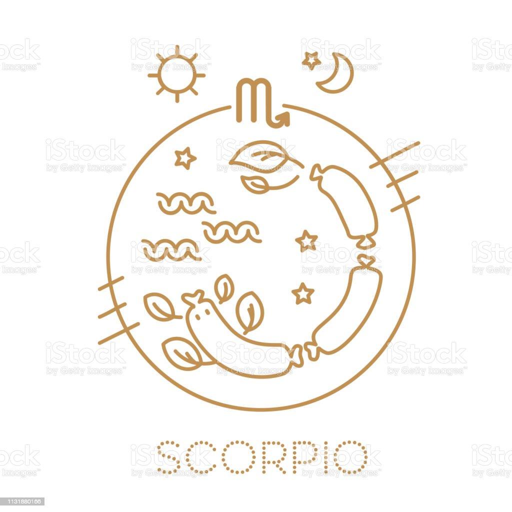 Schorpioen vector tekens van de dierenriem in cirkels. Astrologische voorspelling, horoscoop voor een enkel teken. Logo, tatoeage of illustratie. - Royalty-free Aaien vectorkunst
