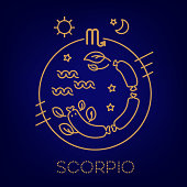 Scorpio vector signs of the zodiac in circles. Astrological forecast, horoscope for a single sign. Logo, tattoo or illustration.