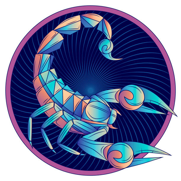 Scorpio zodiac sign, horoscope symbol blue, vector Scorpio zodiac sign, horoscope symbol. Futuristic style icon. Stylized graphic blue scorpion with raised up sting and pincers, ready to attack. Portrait scorpio in circle. Vector illustration. scorpio stock illustrations