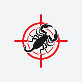 Scorpion icon red target. Insect pest control sign. Vector illustration