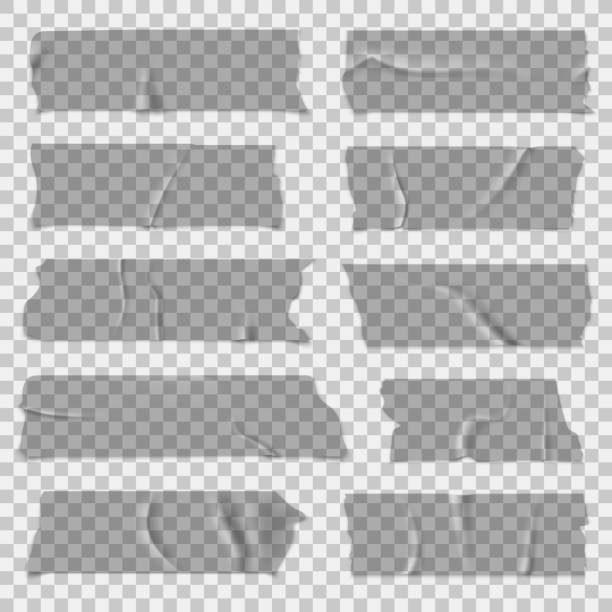 Scotch tape. Transparent adhesive tapes, sticky pieces. Isolated vector set Scotch tape. Transparent adhesive tapes, grey sticky pieces. Isolated vector set tape stock illustrations
