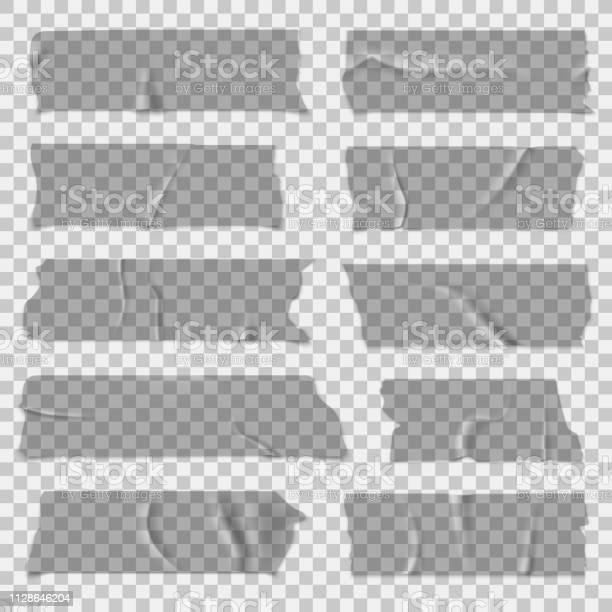 Scotch Tape Transparent Adhesive Tapes Sticky Pieces Isolated Vector Set - Arte vetorial de stock e mais imagens de Antigo