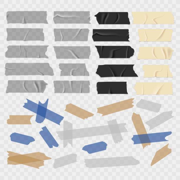 Scotch tape. Transparent adhesive tapes, sticky pieces. Isolated vector set Scotch tape. Old and black grunge, transparent adhesive tapes, sticky duct piece vector illustration set tape stock illustrations
