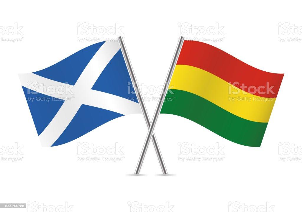Banderas de Escocia y Bolivia. Ilustración de vector. - ilustración de arte vectorial