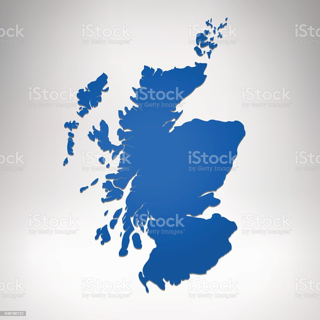 Scotland blue gradient map on grey white background vector art illustration