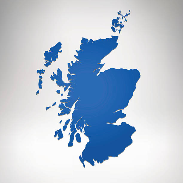 Scotland blue gradient map on grey white background Scotland blue gradient map on grey white background. Hires JPEG (5000 x 5000 pixels) and EPS10 file included. alba stock illustrations