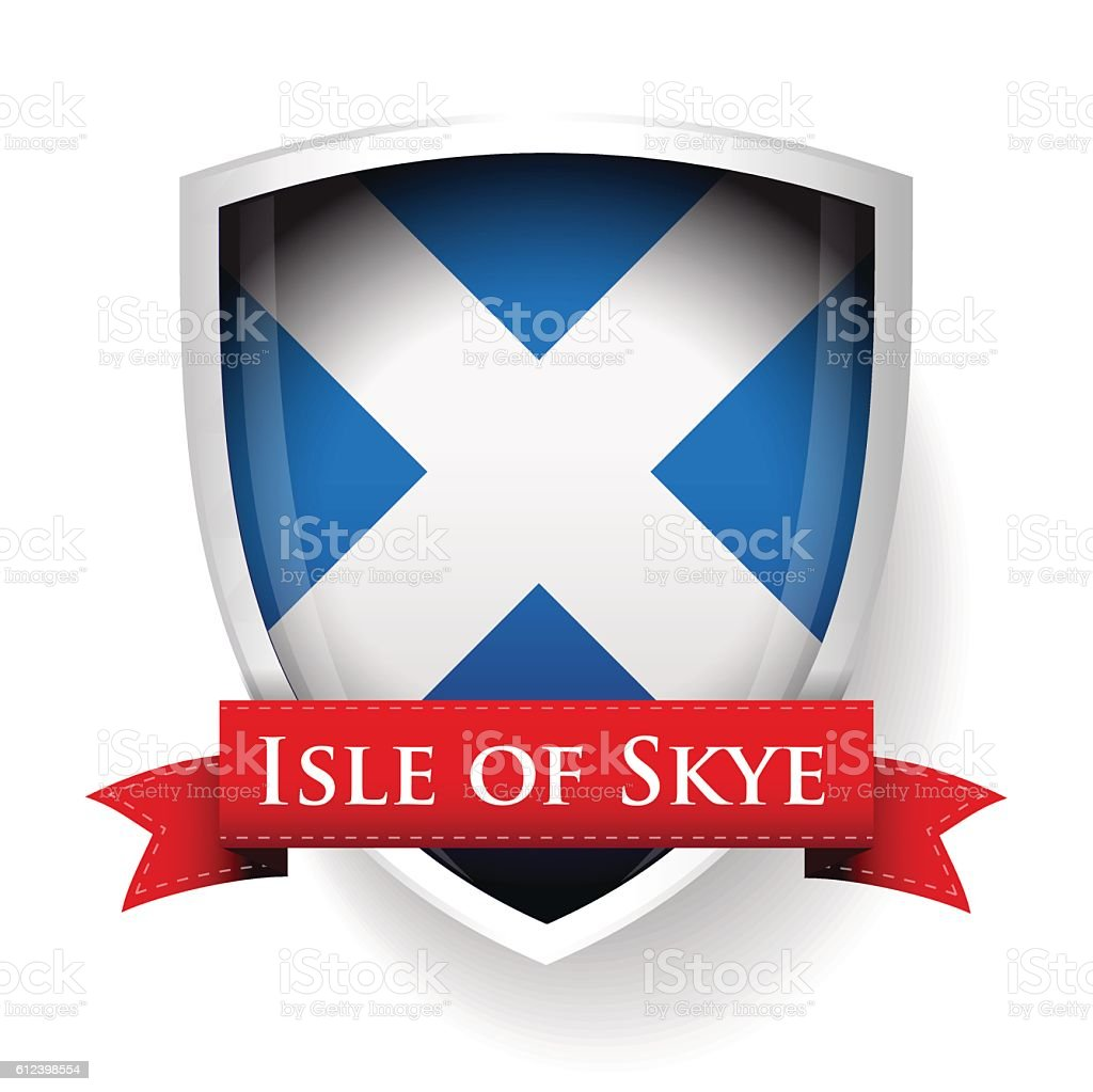scotland flag with isle of skye sign stock vector art 612398554