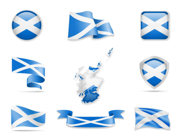 Scotland flags collection. Vector illustration set flags and outline of the country. Scotland flags collection. Flags and outline of the country vector illustration set alba stock illustrations
