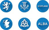 Vector graphic icons and images representing Scotland