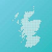 Scotland Map Basic Square Pattern Turquoise
