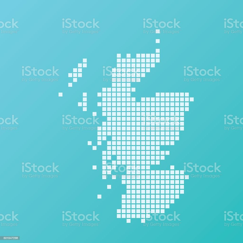 Scotland Map Basic Square Pattern Turquoise vector art illustration
