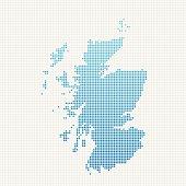 Scotland Map Blue Dot Pattern