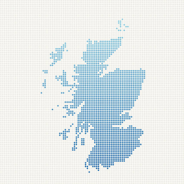Scotland Map Blue Dot Pattern Abstract dot pattern vector map of Scotland, UK. Carefully built with little circles. The country dots and background dots are each grouped as a compound path, so you can easily change colors and even use gradients with just a few clicks. File was created on July 19, 2013. The colors in the .eps-file are ready for print (CMYK). Included files: EPS (v8) and Hi-Res JPG (3000 x 3000 px). alba stock illustrations