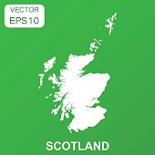 Scotland map icon. Business concept Scotland pictogram. Vector illustration on green background.