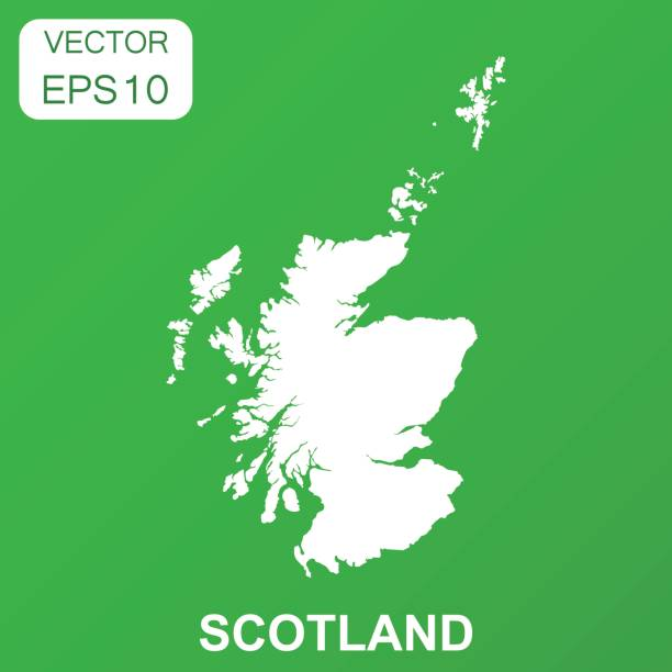 Scotland map icon. Business concept Scotland pictogram. Vector illustration on green background. Scotland map icon. Business concept Scotland pictogram. Vector illustration on green background. alba stock illustrations