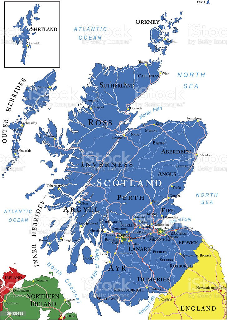 Scotland map in dark blue on white background royalty-free scotland map in dark blue on white background stock vector art & more images of aberdeen - scotland