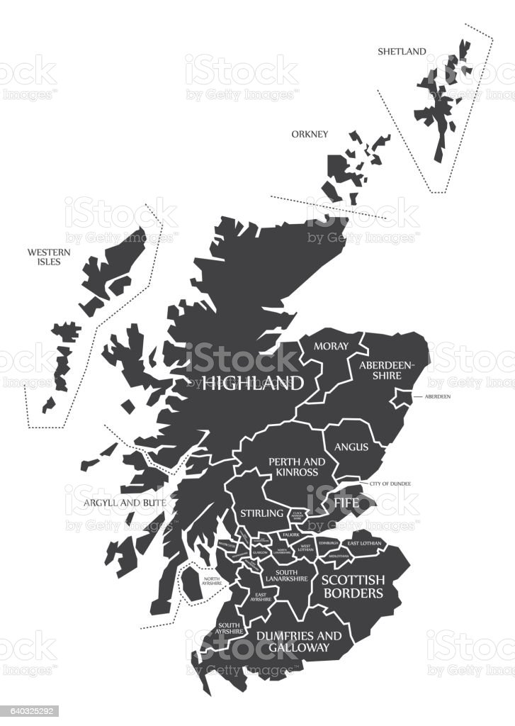 Scotland Map labelled black vector art illustration