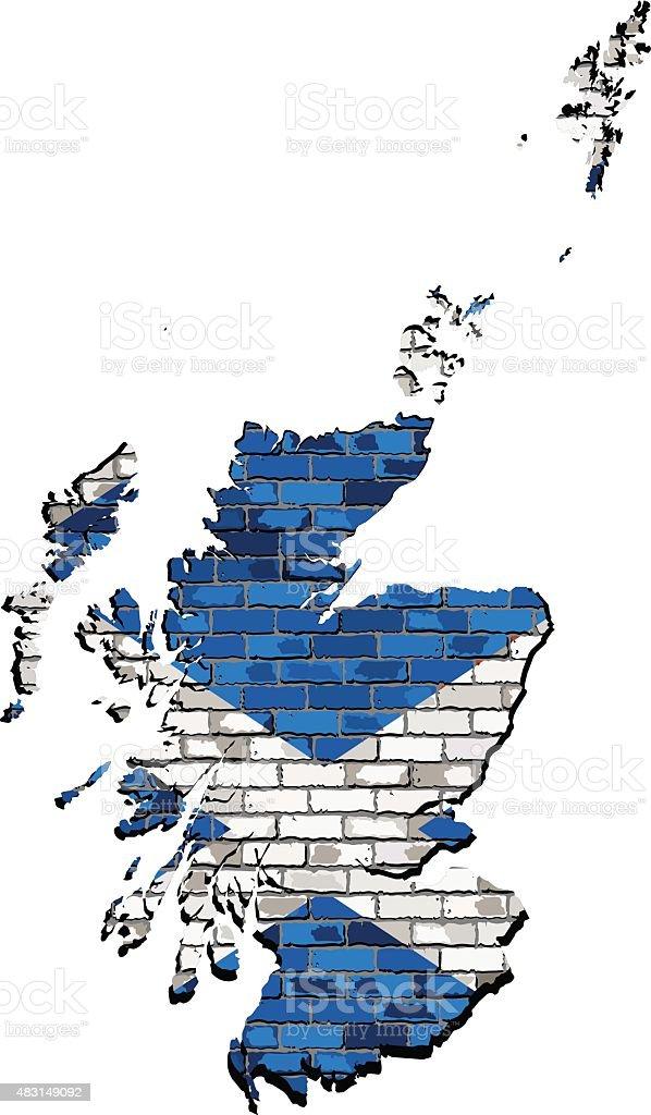 Schottland Karte Auf Eine Wand Stock Vektor Art und mehr Bilder von ...