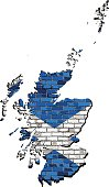 Scotland map on a brick wall
