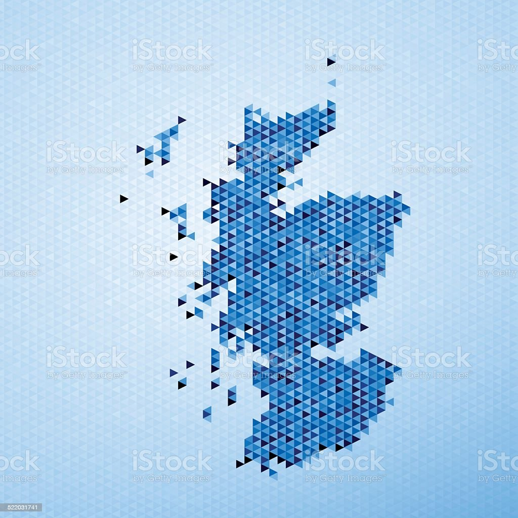 Scotland Map Triangle Pattern Blue vector art illustration