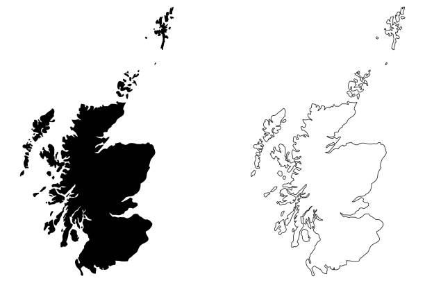 Scotland map vector Scotland map vector illustration, scribble sketch Scotland map alba stock illustrations