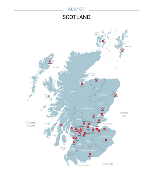 Scotland map vector with red pin. Scotland vector map. Editable template with regions, cities, red pins and blue surface on white background. alba stock illustrations