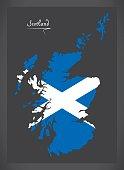 Scotland map with Scottish national flag illustration
