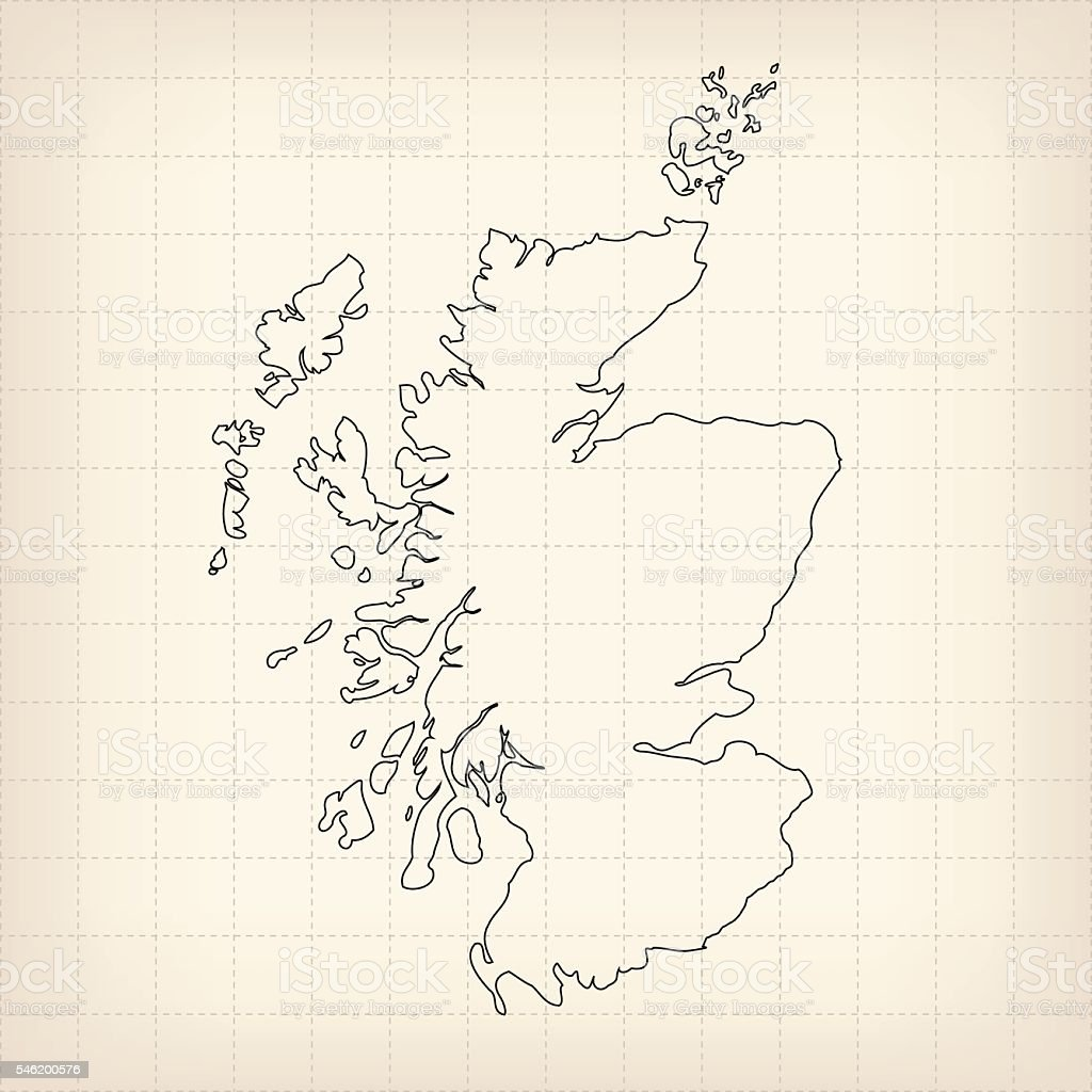 Scotland outline map on beige grid retro background vector art illustration