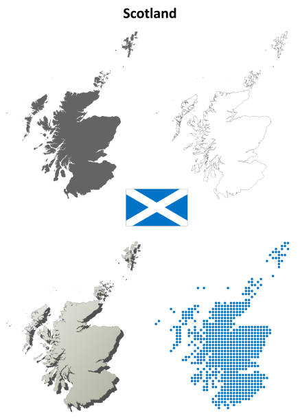 Scotland outline map set Scotland blank detailed vector outline map set alba stock illustrations