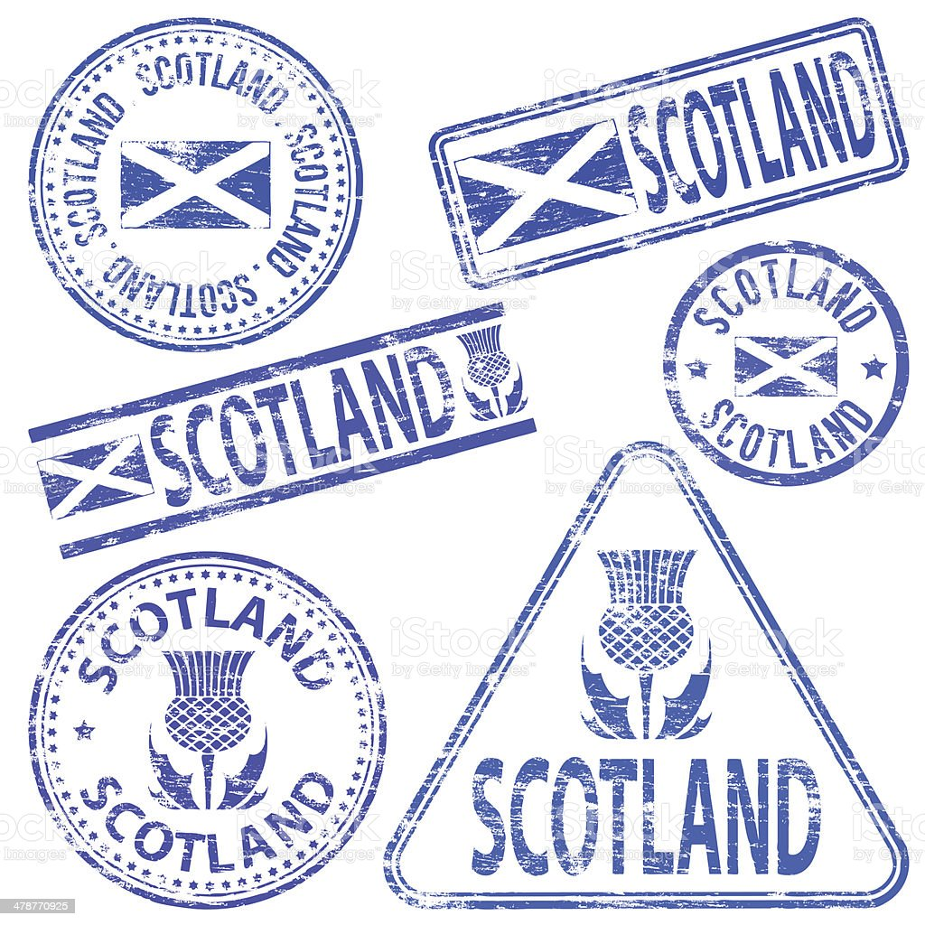 Scotland Rubber Stamps vector art illustration