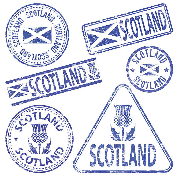 Scotland Rubber Stamps Scotland different shaped rubber stamp vector illustration. alba stock illustrations