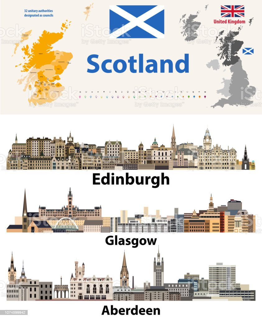 Scotland Subdivisions Map And Scottish Largest Cities Skylines Stock