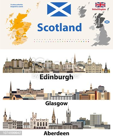 Scotland subdivisions (unitary authorities) map and Scottish largest cities skylines
