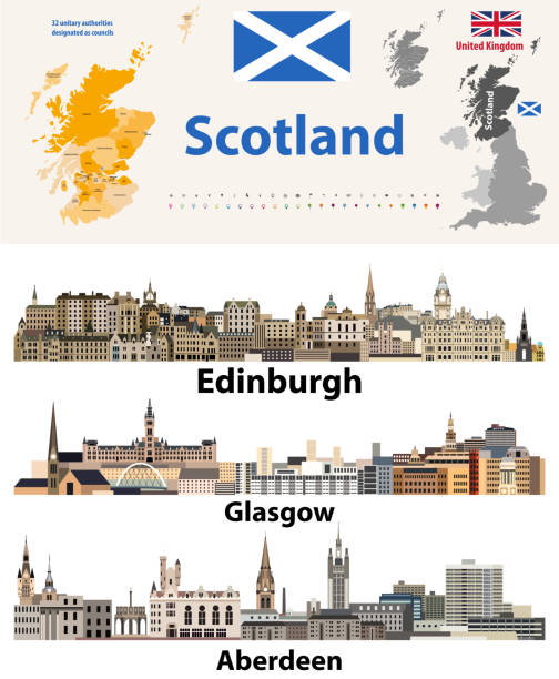 Scotland subdivisions (unitary authorities) map and Scottish largest cities skylines Scotland subdivisions (unitary authorities) map and Scottish largest cities skylines alba stock illustrations