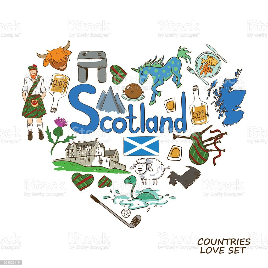 scotland symbols in heart shape concept stock vector art 604026116
